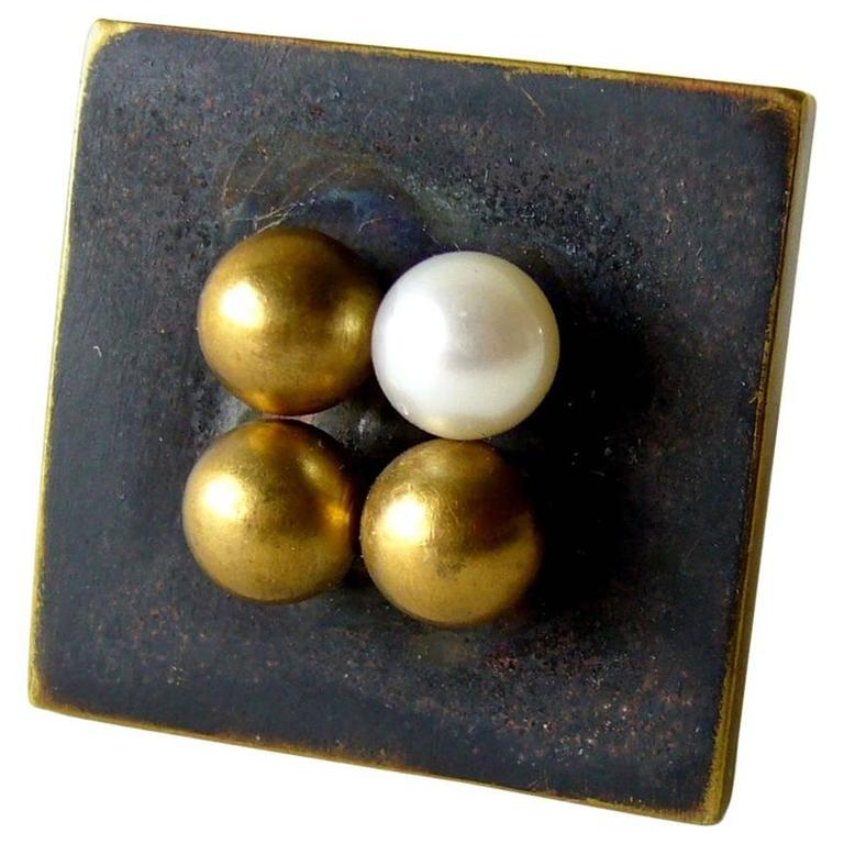 Heidi Abrahamson Pearl Brass Sterling Silver Modernist Ring For Sale