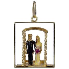 Great Enamel Gold Bride and Groom Charm