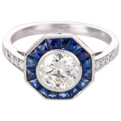 Geometric Style 1.03 Carat Sapphire Diamond Platinum Ring