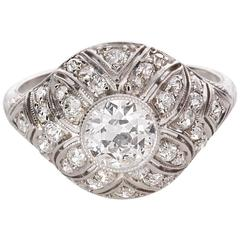 Edwardian .81 Carat Diamond Filigree Platinum Ring
