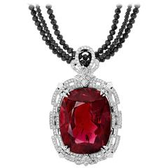 64.53 Carat Rubellite Tourmaline Diamonds Spinel Art Deco Pendant