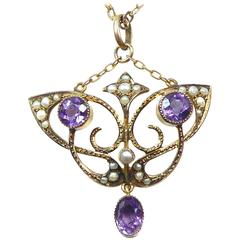 Antique Art Nouveau Pendant, Amethyst and Pearl, 9 Carat Chain