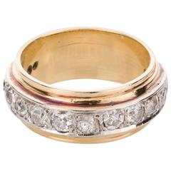 Two Color Diamond Gold Eternity Band Ring