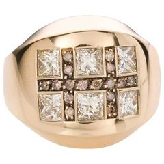 Luca Carati Bold Diamond Yellow Gold Dress Ring