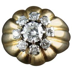 Vintage French Gold and Platinium Dome Ring with Diamonds, circa 1945