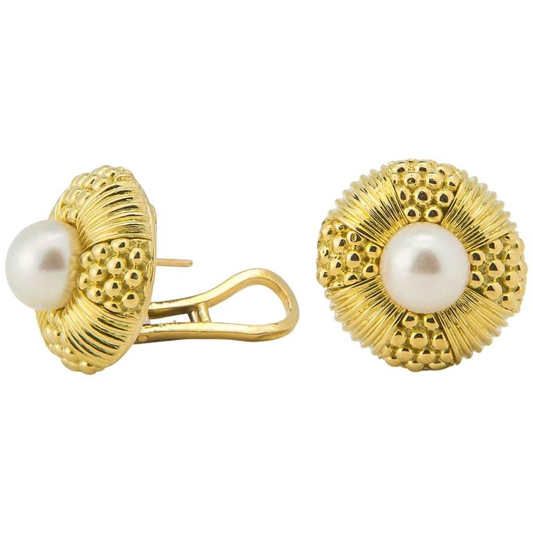 Classic Tiffany & Co. Pearl and Gold Earrings