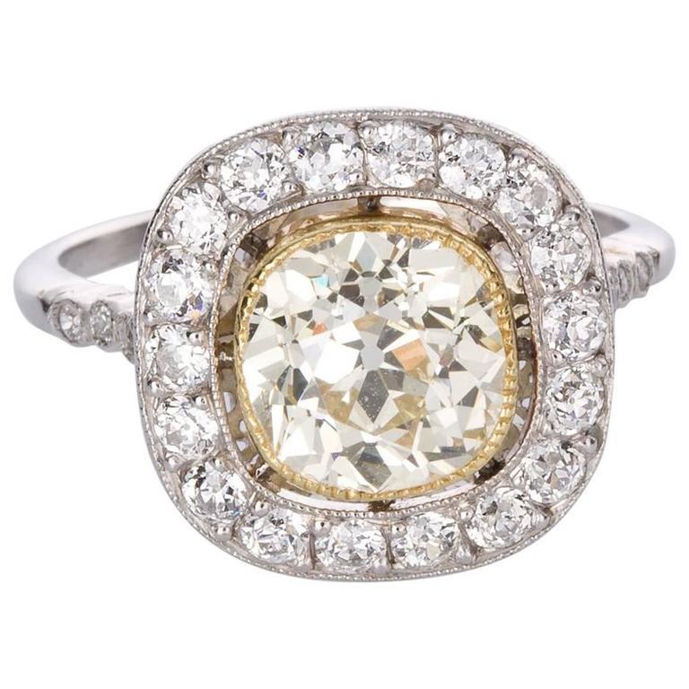 1.83 Carat Light Yellow Diamond Platinum Engagement Ring