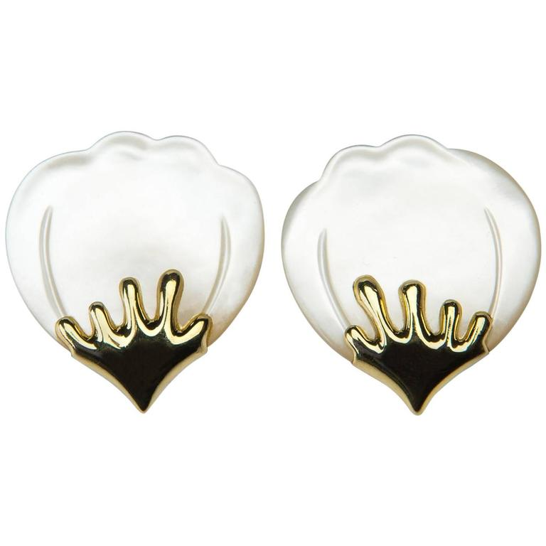 Tiffany & Co. Angela Cummings Mother-of-Pearl Petal Earrings For Sale