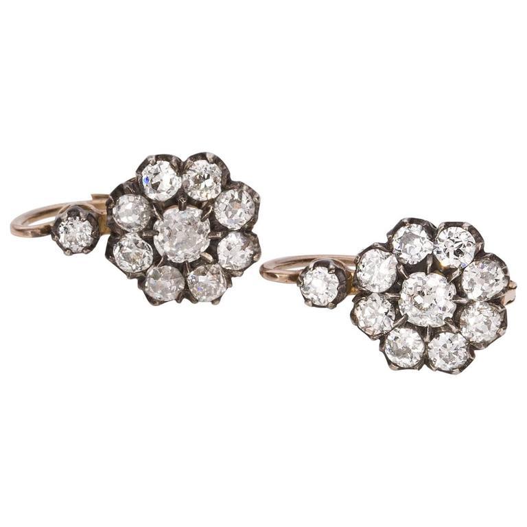 Victorian Old European Cut 2.70 Carat Diamond Floral Cluster Earrings