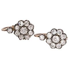 Victorian Old European Cut Diamond Floral Cluster Earrings