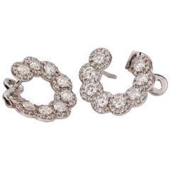 Diamond White Gold Front Hoop Earrings