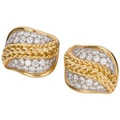 Retro Diamond Yellow Gold Platinum Earclips