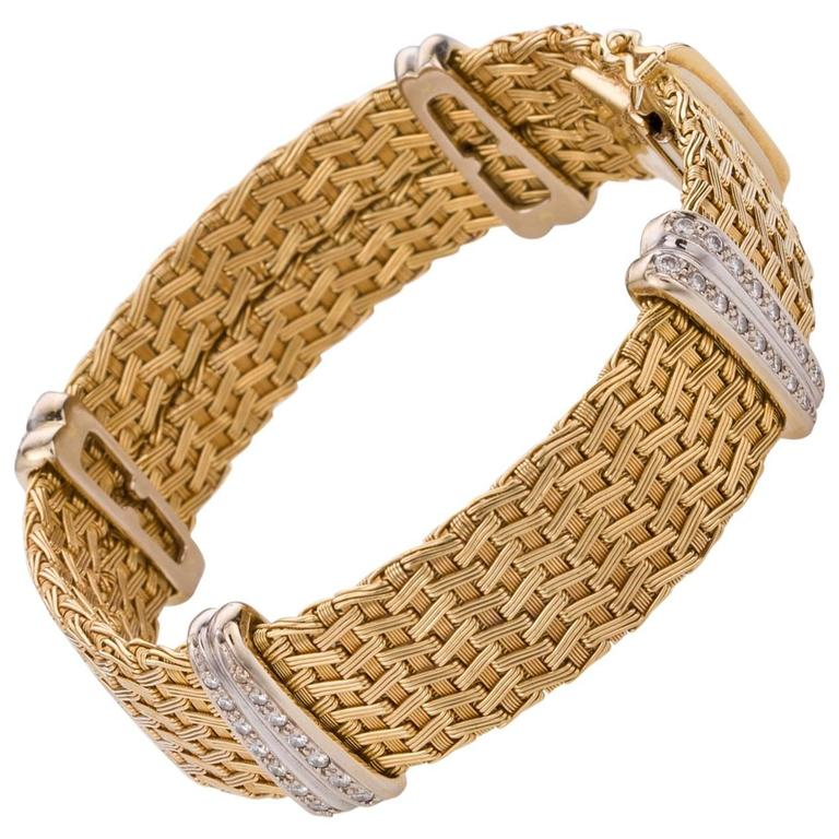 Diamond Yellow Gold German Crafted Woven Flexible Bracelet For Sale