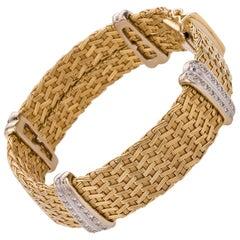 18 Karat Yellow Gold & Diamond German Crafted Woven Flexible Bracelet