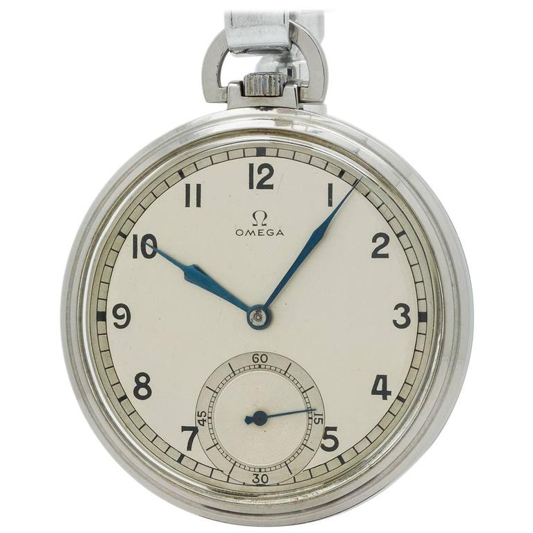 Omega Stainless Steel Industrial Design Era Pocket Watch, circa 1930s 1