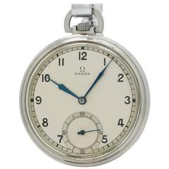 Omega Stainless Steel Industrial Design Era Pocket Watch, circa 1930s