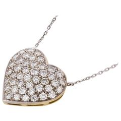 1.40 Carat Diamond Gold Platinum Heart Pendant