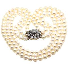 1920's Art Deco Triple Strand Pearl Necklace with Antique Diamond Clasp