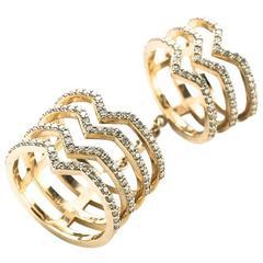 Cristina, Double Flex Seven Bar Diamond Gold Ring