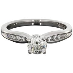 Round Diamond Platinum Pinch Channel Engagement Ring