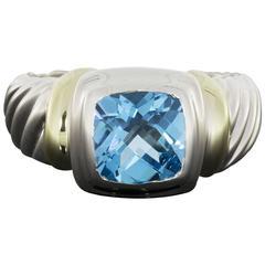 David Yurman Blue Topaz Silver and Gold Cushion Noblesse Ring