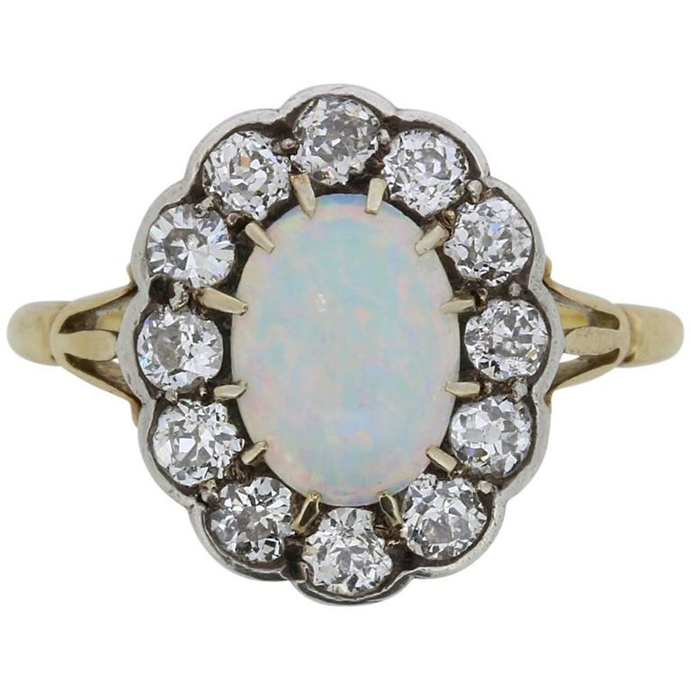 Victorian Opal and Old Cut Diamond Ring, circa 1880s 1