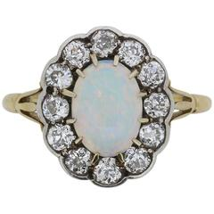 Victorian Opal and Old Cut Diamond Ring, circa 1880s
