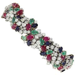 Luise Gold Diamonds Ruby Sapphire Emerald Bracelet