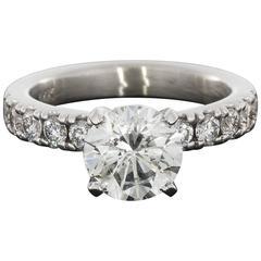 White Gold Round Diamond GIA Certified Engagement Ring
