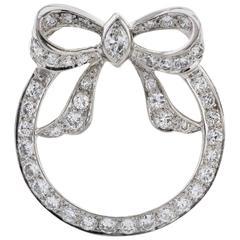 Platinum and Diamond Bow Pin