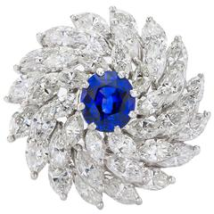 Platinum Diamond Sapphire Cocktail Ring