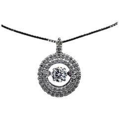 Rhythm of Love Diamond White Gold Double Halo Movable Center Pendant