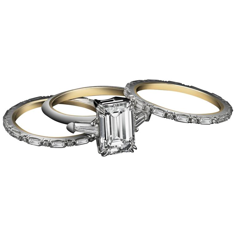 Alexandra Mor Three Ring Emerald Cut Diamond and Baguette Engagement Ring