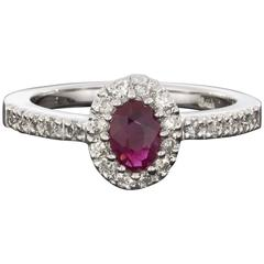 Oval Ruby Diamond White Gold Halo Engagement Ring