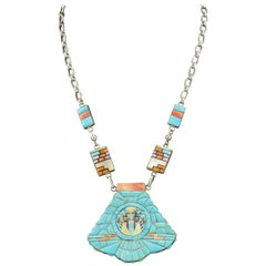 Zuni Sterling Silver Cobblestone Turquoise Inlaid Large Chunky Necklace