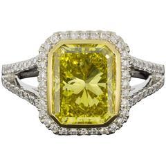 GIA Certified 3.64 Carat Fancy Vivid Yellow Radiant Diamond Halo Engagement Ring