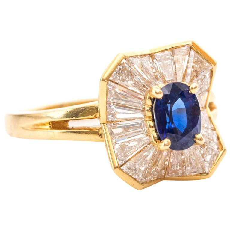 1990s 1.85 Carat Oscar Heyman Diamonds Blue Sapphire Yellow Gold Ring