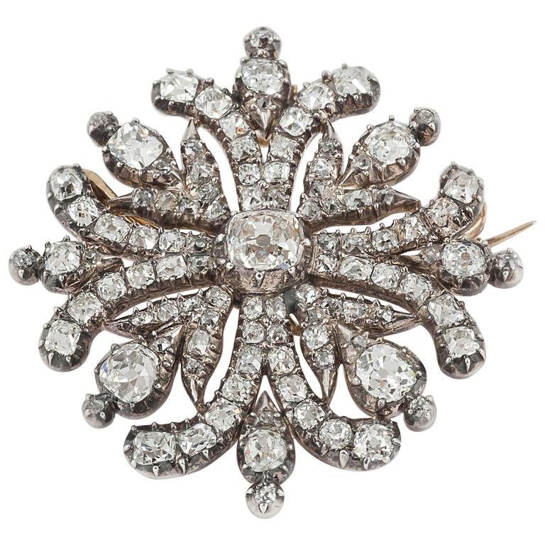 Georgian Regency  Cushion Cut Diamond Cruciform Brooch 1