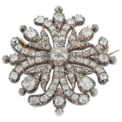 Georgian Regency  Cushion Cut Diamond Cruciform Brooch