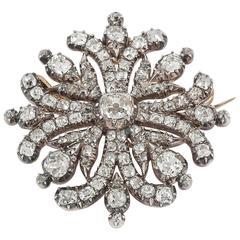 Georgian Regency  Cushion Cut Diamond Cruciform Brooch