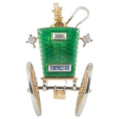 Enamel Sapphire Diamond Gold Coaching Carriage Clip Brooch, circa 1950