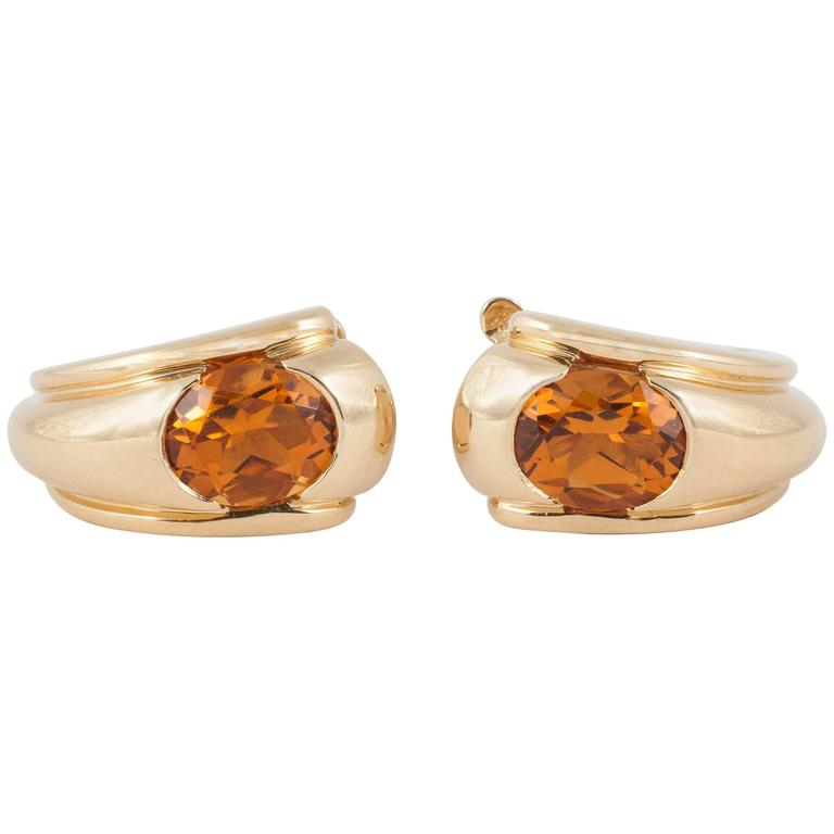 Boucheron of Paris Citrine Gold Creole Shaped Earrings,French c,1950 1