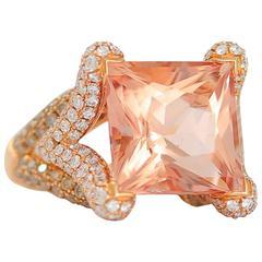 Frederic Sage 9.46 Carat Morganite Diamond Cocktail Ring
