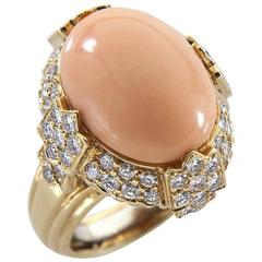 French Coral Diamond Yellow Gold Ring