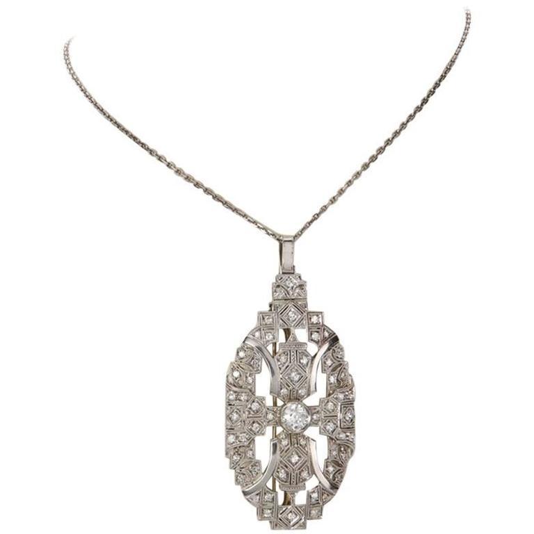 Art Deco Diamond Pendant Brooch with Platinum Chain
