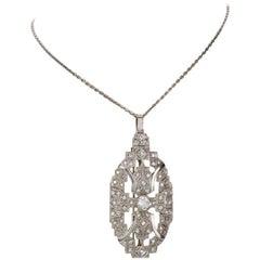 1.86 Carat Diamond Art Deco Pendant Brooch with Platinum Chain