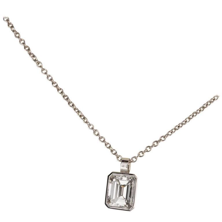 125 carat emerald cut diamond drop white gold pendant necklace for 125 carat emerald cut diamond drop white gold pendant necklace for sale aloadofball Choice Image