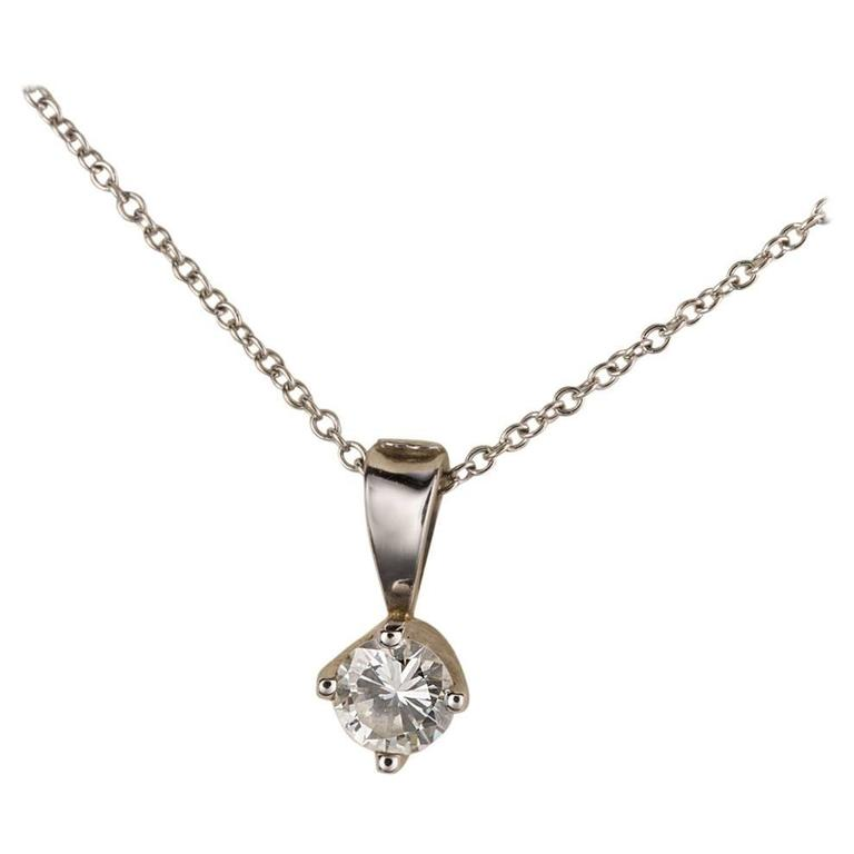 .52 Carat Solitaire Diamond Drop 18 Karat White Gold Pendant