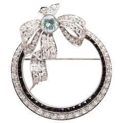 Spectacular Art Deco 5.60 Carat Aquamarine Diamond Platinum Brooch