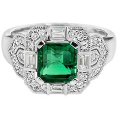 Geometric Style Emerald Diamond Gold Ring